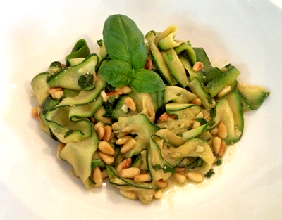 pasta-free dish with pesto