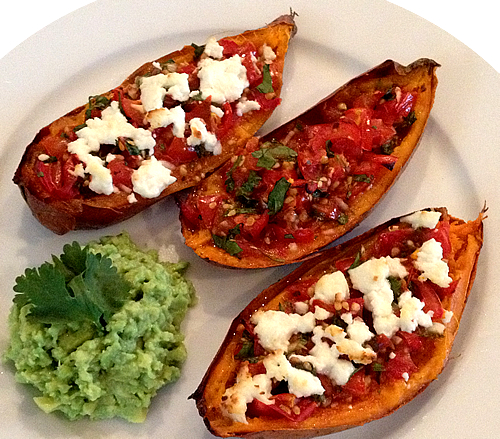 loaded potato skins with salsa