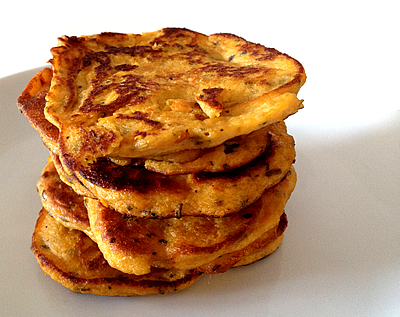 sweet potato pancakes stack